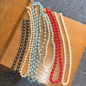 Colored Bead & Faux Pearls Necklace Bundle